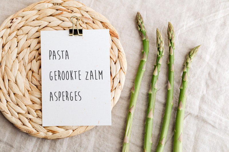 pasta gerookte zalm groene asperges